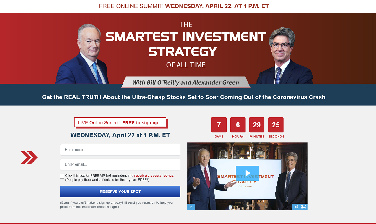 """Bill O'Reilly Special Event """"Smartest Investment Strategy of All Time"""""""