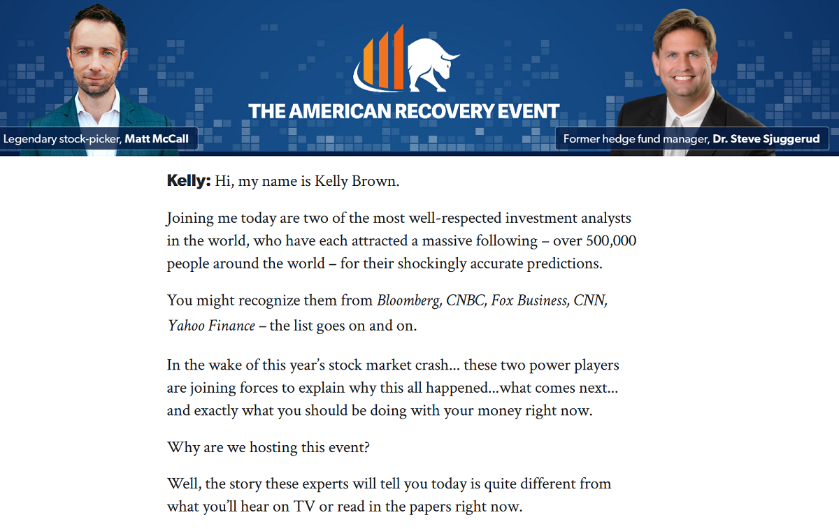 American Recovery Event: Matt McCall's Investment Opportunities and Steve Sjuggerud's True Wealth Research