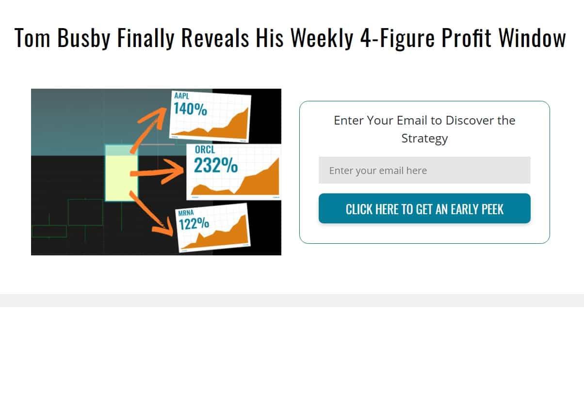 Tom Busby Weekly 4-Figure Profit Window